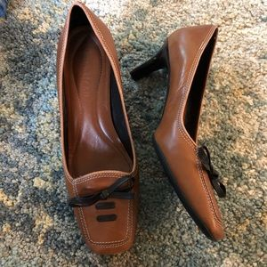 Cole Haan brown leather heels with square toe